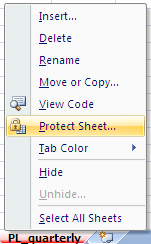 Excel: Protect Sheet