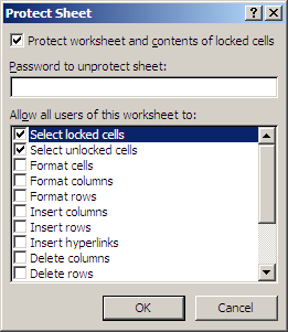 "Excel: ""Protect Sheet"" Dialogue"