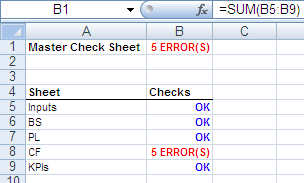 Excel: Master Check Sheet