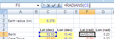 Excel: Degree-to-radians conversion