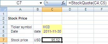 Excel: Retrieve Stock Quotes with a Spreadsheet Formula